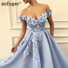Light Blue Sexy Off The Shoulder Flower A Line Evening Dress Pleat Robe De Soiree Plus Vestidos Fiesta Formal Party