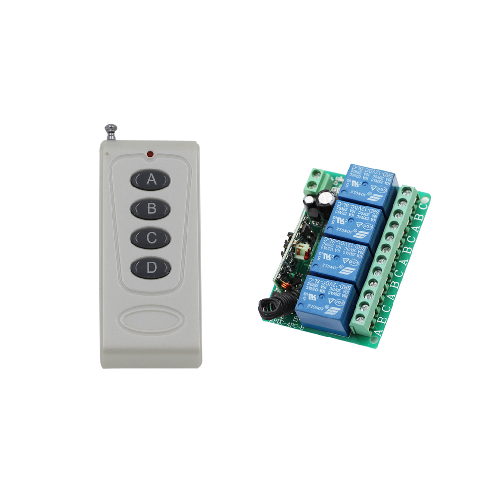 New DC 12V 10A 4CH RF Wireless Relay Remote Control Switch 315Mhz 433Mhz Transmitter & Receiver for Garage Door/ Window /Lamp new dc12v 10a mini 1ch rf wireless remote control 4 receiver 4 transmitter 315 433 mhz white black remote control with abcd key