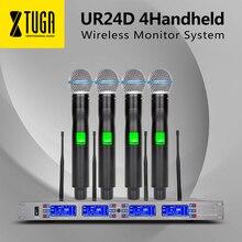 Бесплатная доставка 4*100 канала выбирается частота идеально подходит для сцены Вокальный концерт UR24D 4 ручной беспроводной микрофон системы