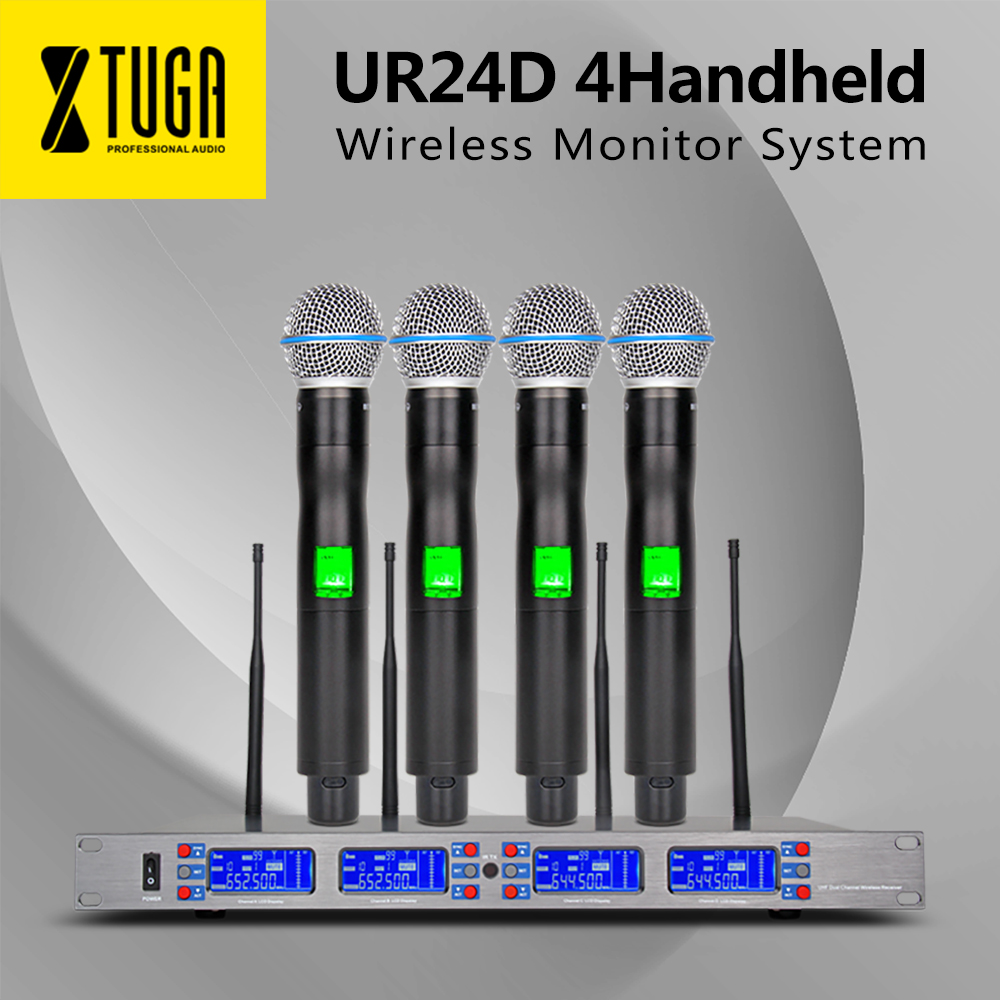 Free Shipping XTUGA UR24D 4*100 Channel UHF Frequency Perfect For Stage Vocal Concert  4 Handheld Wireless Microphone System