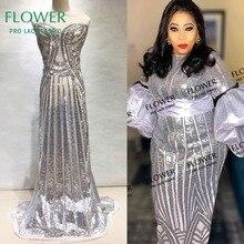 Уникальная расшитая блестками сетчатая кружевная ткань в серебряном цвете, женские красивые платья, швейные материалы, африканские французские сетчатые кружева с вышивкой