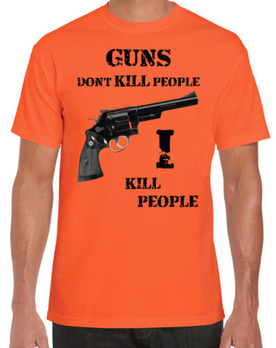 Happy Gilmore Inspired Guns Don'T I Kill People Funny Golf Movie Orange T-Shirt 2019 Summer New Men'S Fashion T-Shirt image
