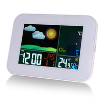 LCD Color Display Wireless Forecasting Weather Station Digital Thermometer Hygrometer Temperature Humidity Meter Alarm Clock