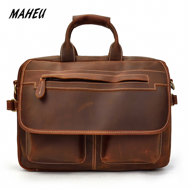 MAHEU Vintage Real Leather Briefcases For Men Genuine Leather Double Layer Handbag For 15 Inches Notebook