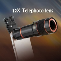 Universal Mobile Phone Telephoto Lens HD 12X Zoom Optical Telescope Camera Lens With Clips For All