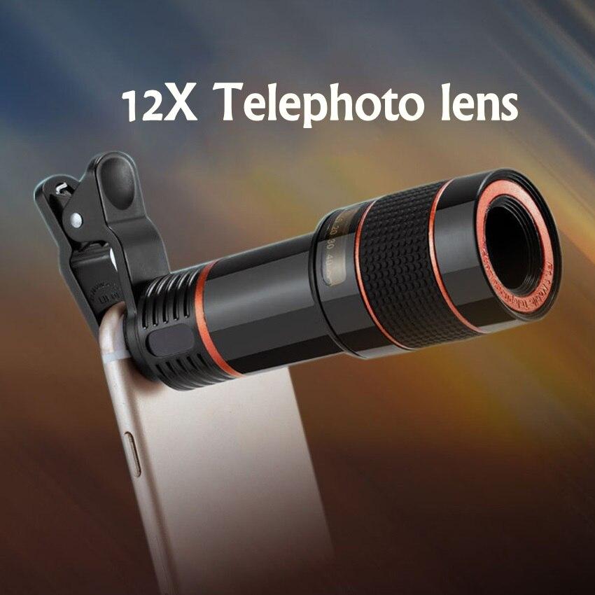 Universal Mobile Phone Teleobjektiv HD 12X Zoom Optisches Teleskop-kameraobjektiv mit Clips Für Alle Telefon Keine Dunklen Ecke