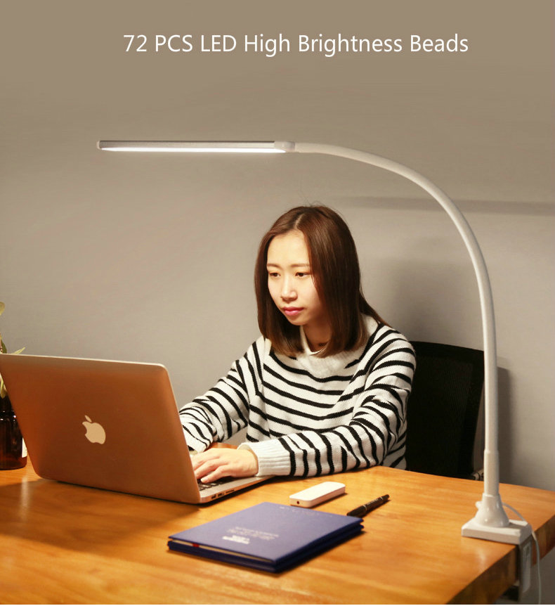Image 4 - Remote Control Business LED Office Desk Lamp Clamp 5 Color Temperature 5 Brightenss Eye Care Long Arm Study Table Lamp with Plug-in Desk Lamps from Lights & Lighting