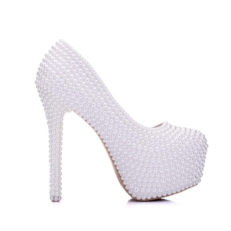 Chaussures Hauts Plate Lady Gentlewomen forme Mode De Robe Blanc Femmes Pompes Talons À Mariage Perle Mariée 78qBAB