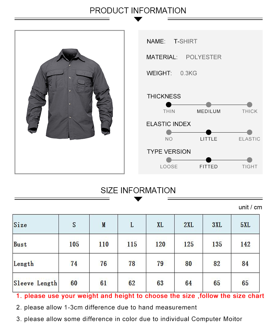 Details of Removable Sleeves Outdoor Hiking Shirt