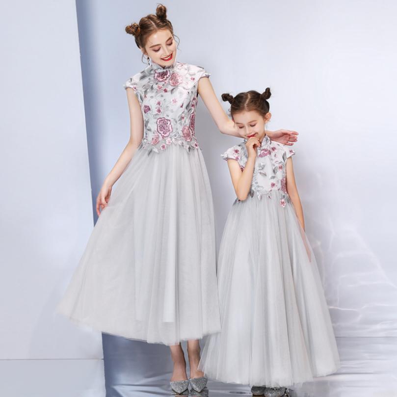 Bébé mère fille robe robe de bal gris princesse élégante femmes filles robe de Cocktail robe de soirée de mariage correspondant vêtements Y933 - 2