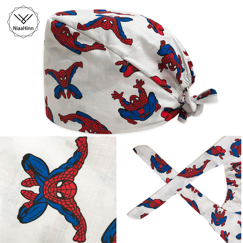 Scrub Caps For Men Women Hospital Medical Hats Spiderman Print Tieback Elastic Section 100% Cotton Surgical Caps New Arrival