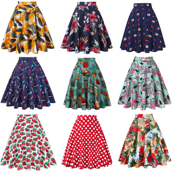 46ce186446 De cintura alta pista plisado falda rodilla longitud vaqueros Faldas Retro  Vintage 50 s Rockabilly Swing Mujer Faldas Saia jupe