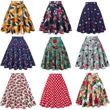 De cintura alta pista plisado falda rodilla longitud vaqueros Faldas Retro  Vintage 50 s Rockabilly Swing Mujer Faldas Saia jupe 4539e3287575