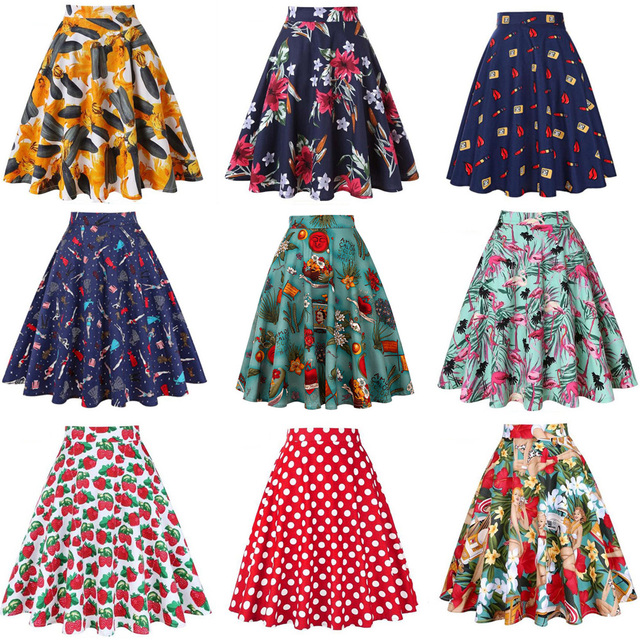 fe58691db4f High Waist Runway Pleat Skirt Black Knee Length Flared Skirts Retro Vintage  50s Rockabilly Swing Skirts Women Faldas Saia Jupe