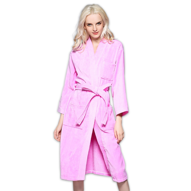 Pure color Sexy 100% cotton bathrobes women thicken Towel fabric long-sleeve fashion Kimono SPA Hotels robes robe femme