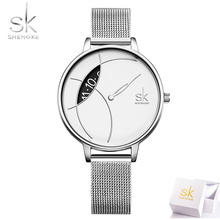 цена Women Watch Shengke Brand Luxury Fashion Casual Unique Lady Wrist Watch Silver Mesh Quartz Waterproof Stylish Relogio Feminino онлайн в 2017 году