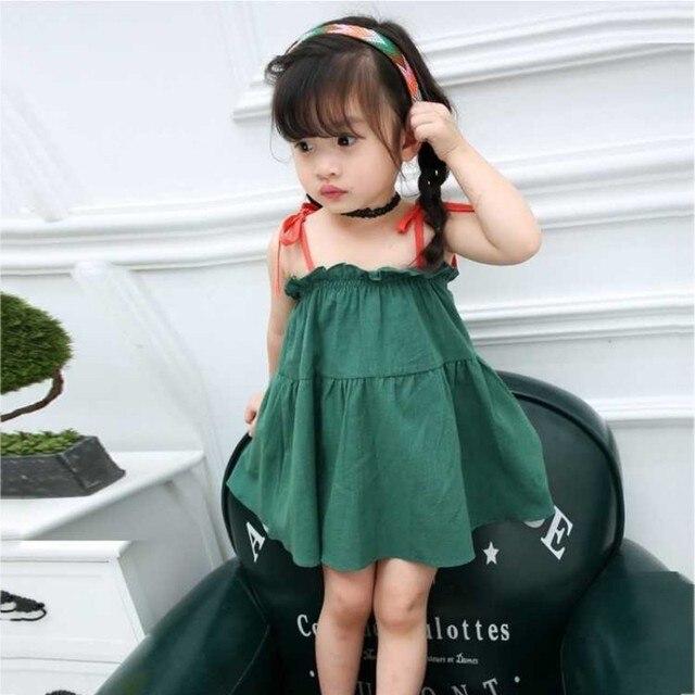 2018 New Knee Sleeveless Bow Cute Baby Girl Dress Slip Dresses