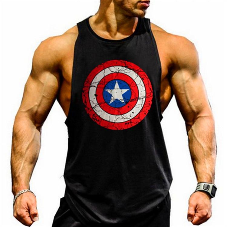 Schneidig Kapitän Amerika Turnhallen Tank Top Bodybuilding Kleidung Stringer Singuletts Fitness Männer Muscle Sleeveless Weste Blusa Masculina
