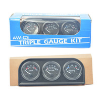 New 3 in 1 Triple Gauge Kit Black Color With Temp & Pressure Sensor(Water Temp Gauge +Volts Gauge+ Oil Pressure Gauge)