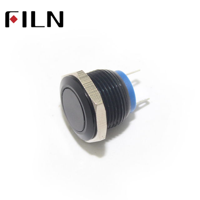 16mm stainless steel flat head 1no short length metal push button16mm stainless steel flat head 1no short length metal push button black body no light momentary 2 solder pins