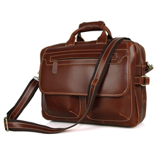 Genuine Cow Leather Dark Brown Men's Briefcase New Arrivals Classic Double Zip Briefcase Laptop Bag Handbag For Men 7085X недорого