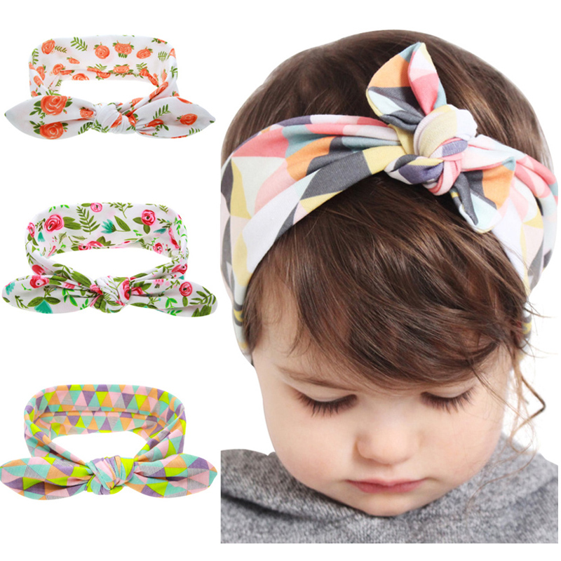 Kids Flower Floral Hairband Turban Rabbit Bowknot  Headband Headwear Hair Band Accessories kt-060 1 pc women fashion elastic stretch plain rabbit bow style hair band headband turban hairband hair accessories