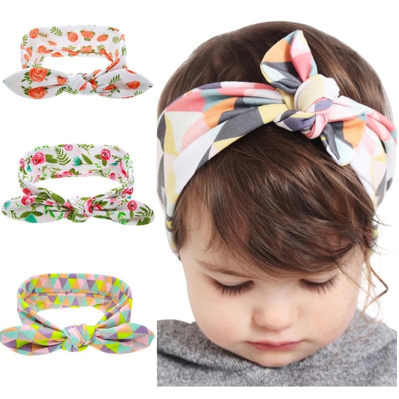 1PC Kids Flower Headband Floral Hair Bands Turban Rabbit Bowknot  Headband Girl Headwear Childen Hair Accessories kt-060