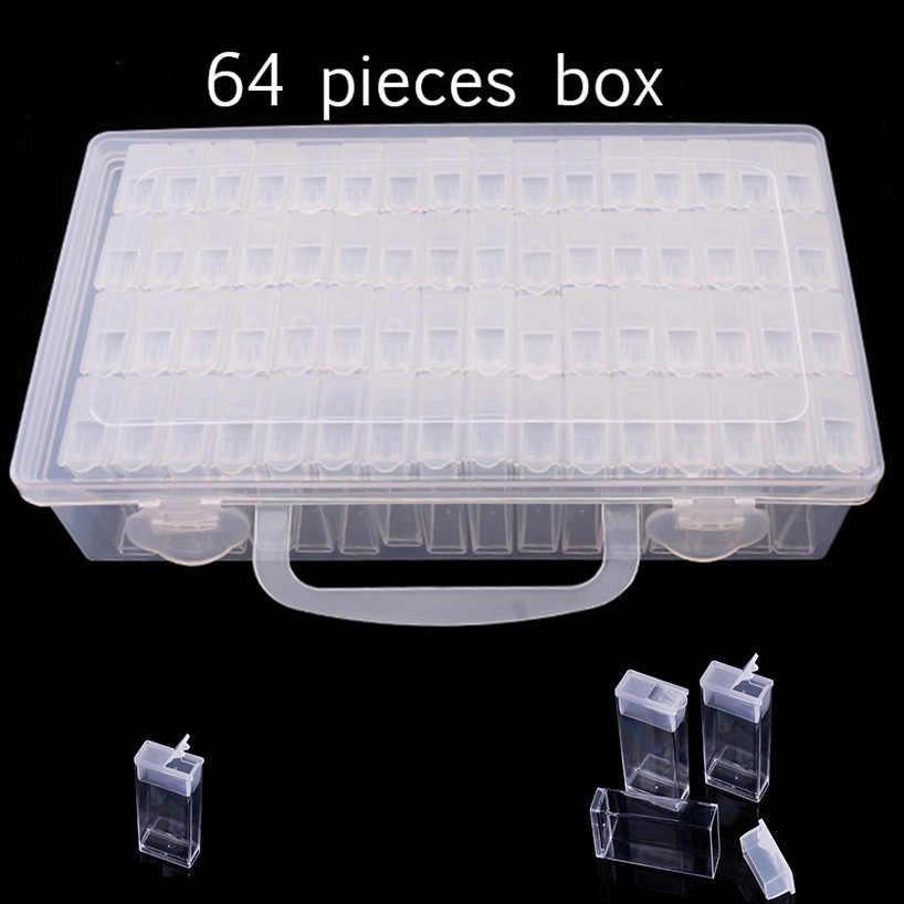 Accesorios de Pintura de Diamante 64 Pcs Cajas de Diamantes de Almacenamiento Bordado GuKKK Caja de Pl/ástico Transparente Pintura de Diamante Organizador para Diamantes Manicura de U/ñas Joyas