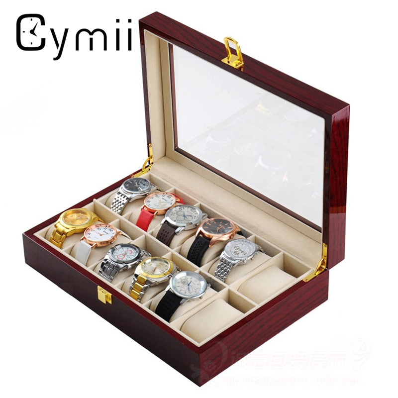 Cymii 12 Slots Wood Watch Box Display Case Glass Top Bracelet Watch Jewelry Collection Storage Organizer Holder Box watchcase storage luxury 22 slots 2 layer wood glossy lacquer watch box jewelry collection display drop shipping supply