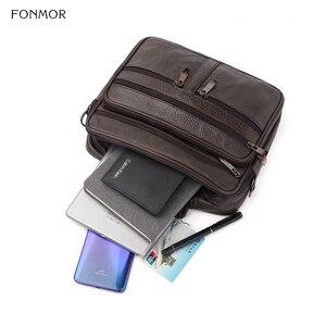 Image 4 - FONMOR Genuine Leather Men Briefcases Fashion Business Tote Bags  Multi layer Shoulder Crossbody Bag Mens Handbags Travel Bag