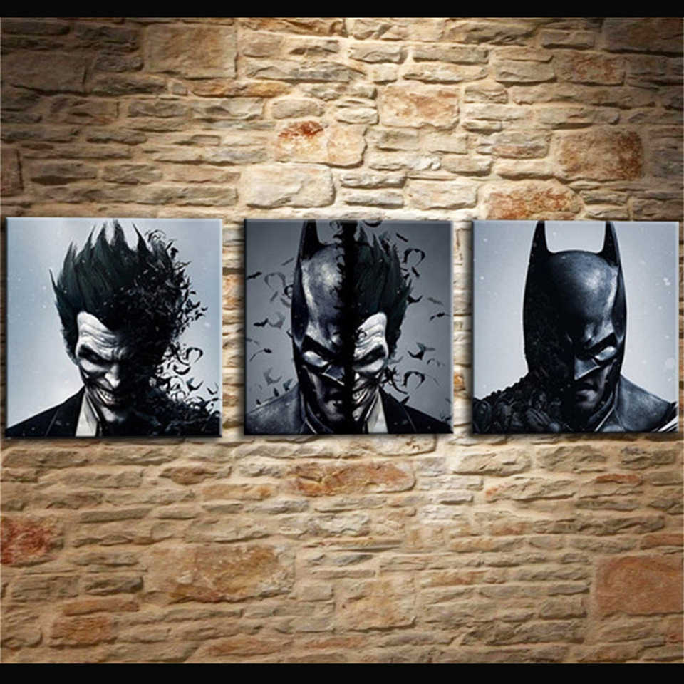 Painting Living Room Wall Cuadros Decoration Art 3 Pieces/Pcs Joker Batman Poster Canvas Frames Print HD Modular Printed Picture