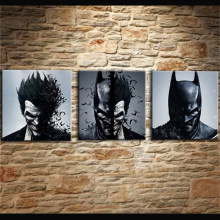 Painting Living Room Wall Cuadros Decoration Art 3 Pieces/Pcs Joker Batman Poster Canvas Frames Print HD Modular Printed Picture(China)