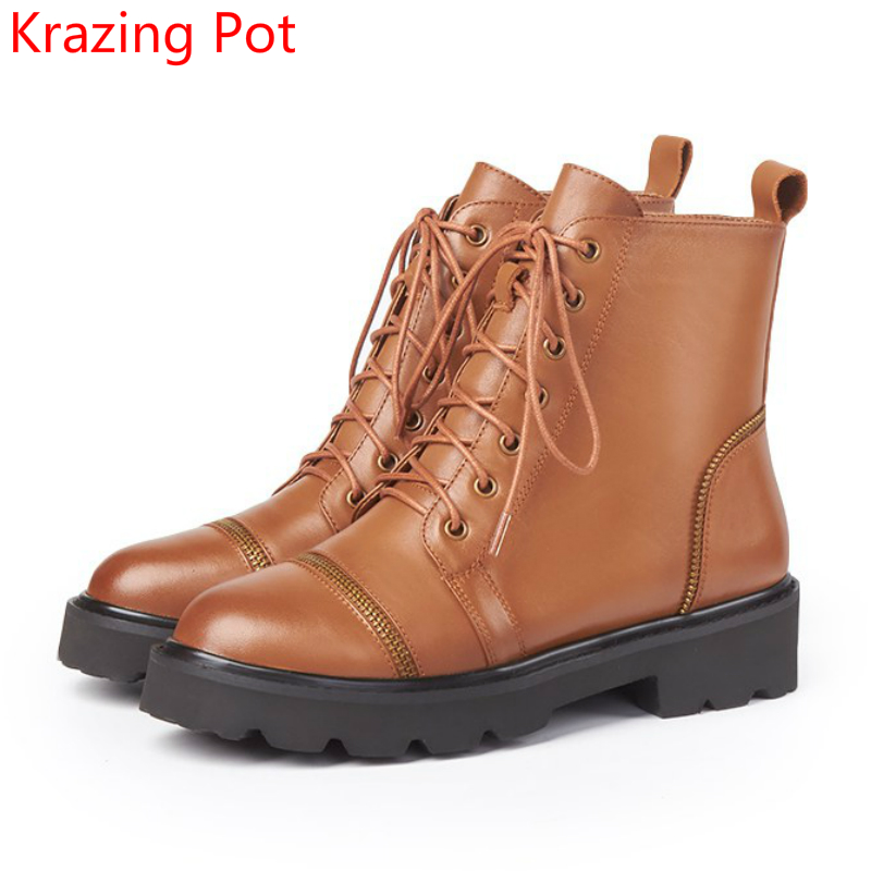 2018 Fashion Genuine Leather Thick Heel Streetwear Round Toe Lace Up Zipper Runway Winter Boots Sexy Punk Style Ankle Boots L3f3 front lace up casual ankle boots autumn vintage brown new booties flat genuine leather suede shoes round toe fall female fashion