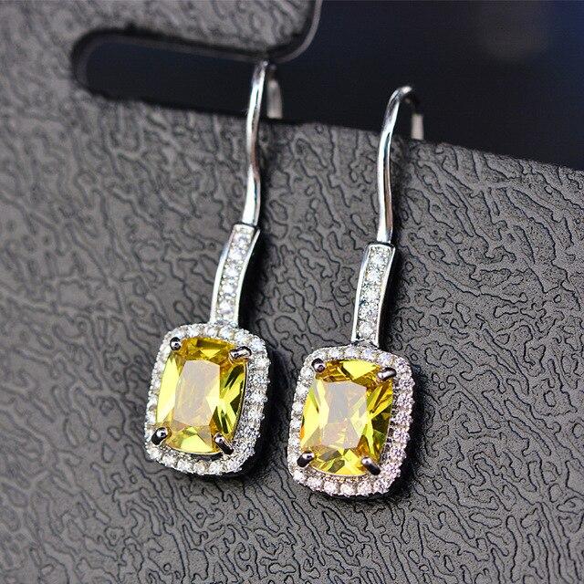 925 Sterling Silver Emerald Citrine Sapphire Gems Drop Dangle Hook Earrings  4