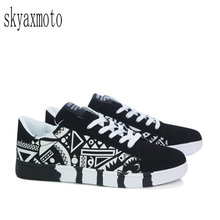 Skyaxmoto Men Fashion Shoes Man Sneaker Size 39-44 Boy Casual Print Shoes Men Canvas Breathable Lace Up Style Trend Footwear цена