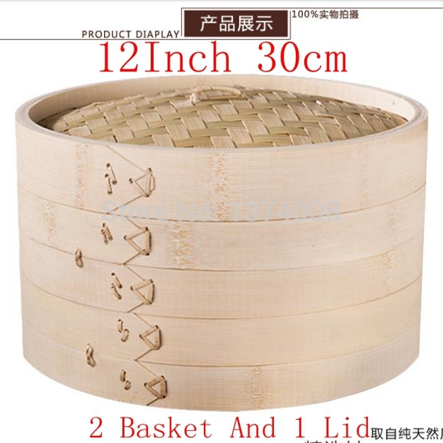 New 12 Inch 30cm High-Grade Bamboo Steamer Set With 2 Basket And 1 Lid Kitchen Cookware Fish Dim Sum Rice Free Shipping Hot 2015