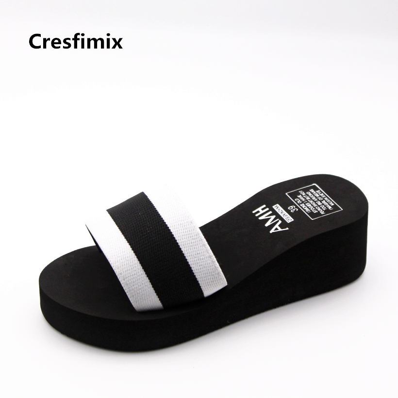 Cresfimix Women Fashion Eva Soft & Comfortable Beach Slippers Lady Cute Striped Indoor Flip Flops Female Cool Black Flip Flops