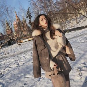 Image 2 - Mishow 2019 Women New winter clothing thicken woolen jacket female Korean version of the short loose Plaid woolen coat MX18D9536