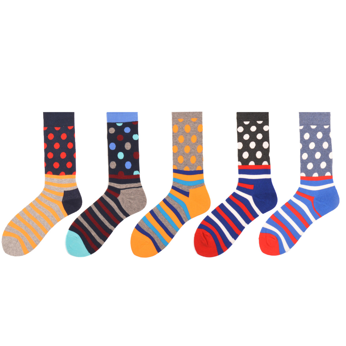 PEONFLY European Personality happy Tide Brand funny mens Socks Originality Stripe Small dot Stitching men dress cotton Sock