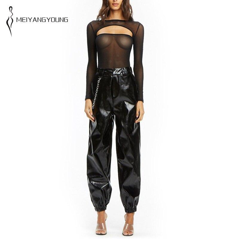 Ample pantalons en cuir synthétique polyuréthane femmes en cuir pantalon élastique taille haute pantalon Punk vêtements automne hiver mince polaire Streetwear pantalons de survêtement