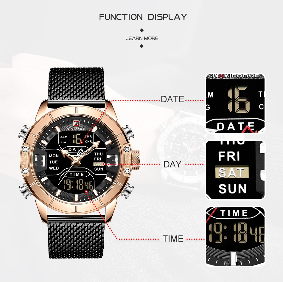 NAVIFORCE 2019 Men Military Waterproof LED Quartz Sport Watches Military Stainless Steel Mesh Male Business Relogio Masculino  (2)