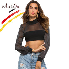 ArtSu 2018 Herfst Womne Lange Mouwen Coltrui Crop Top Sequin Mesh T-Shirt Sexy See Through Lace Up Backless Tops Tees zwart(China)