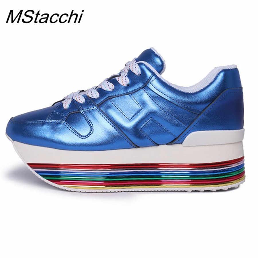 Madeni pul Sneakers gökkuşağı yüksekliği artan ayakkabı kadın rahat dantel up platformu Sneakers kızlar hakiki deri bayan ayakkabıları