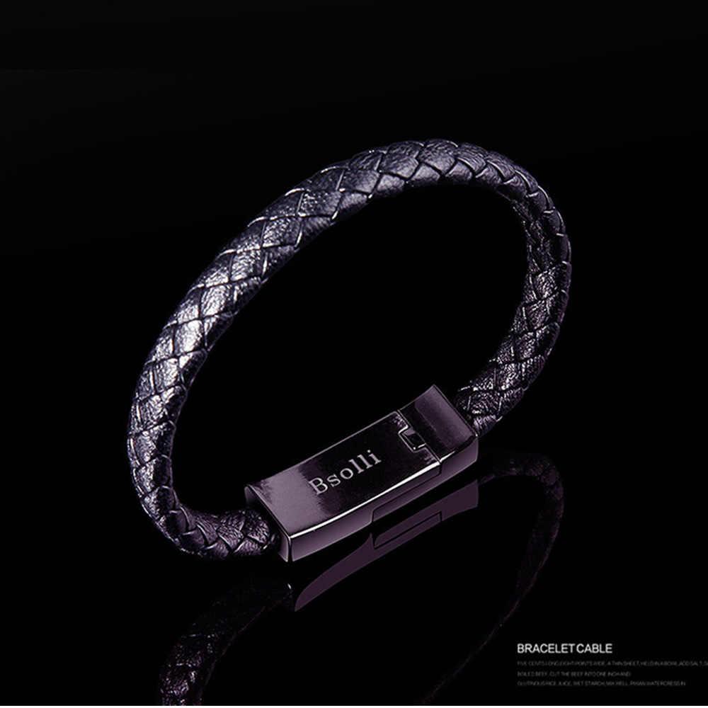 Cargador de teléfono USB rápido de viaje cargador de pulsera Cable de carga de datos Cable de sincronización para Samsug s9 pulsera hombres Cierre magnético de acero