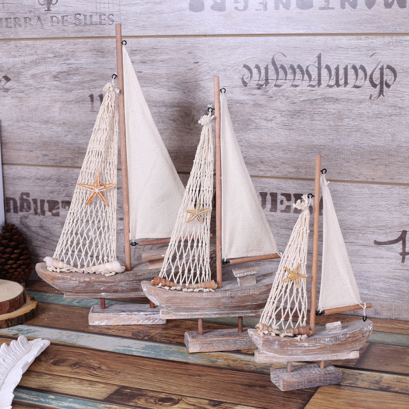 American Rural Style Retro Sailing Ship Model Handicrafts Boat example room Home TV ark Nautical Decoration
