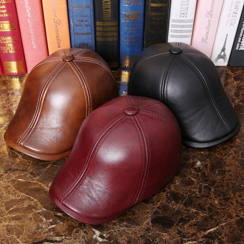 Luxury Cowskin Men Winter Beret Hat 60CM Brown Coffee Genuine Leather Earflip Warm Hat Fashion Flat S M Big Size Male Beret Hat