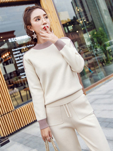Image 1 - Women Winter Woolen And Cashmere Pattern Knitted Warm Suit O Neck Sweater+Pants Tracksuit Two Piece Set Female Sporting Suits