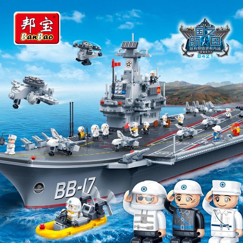 BanBao Aviões Militares Do Exército militar Blocos de Construção Educacionais Tijolos Menino Crianças Crianças Brinquedo Modelo navio de guerra 8421