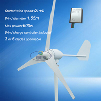 Wind Generator 400watt MAX 600w 3 5 Blades Wind Turbine With Hybrid Controller With CE