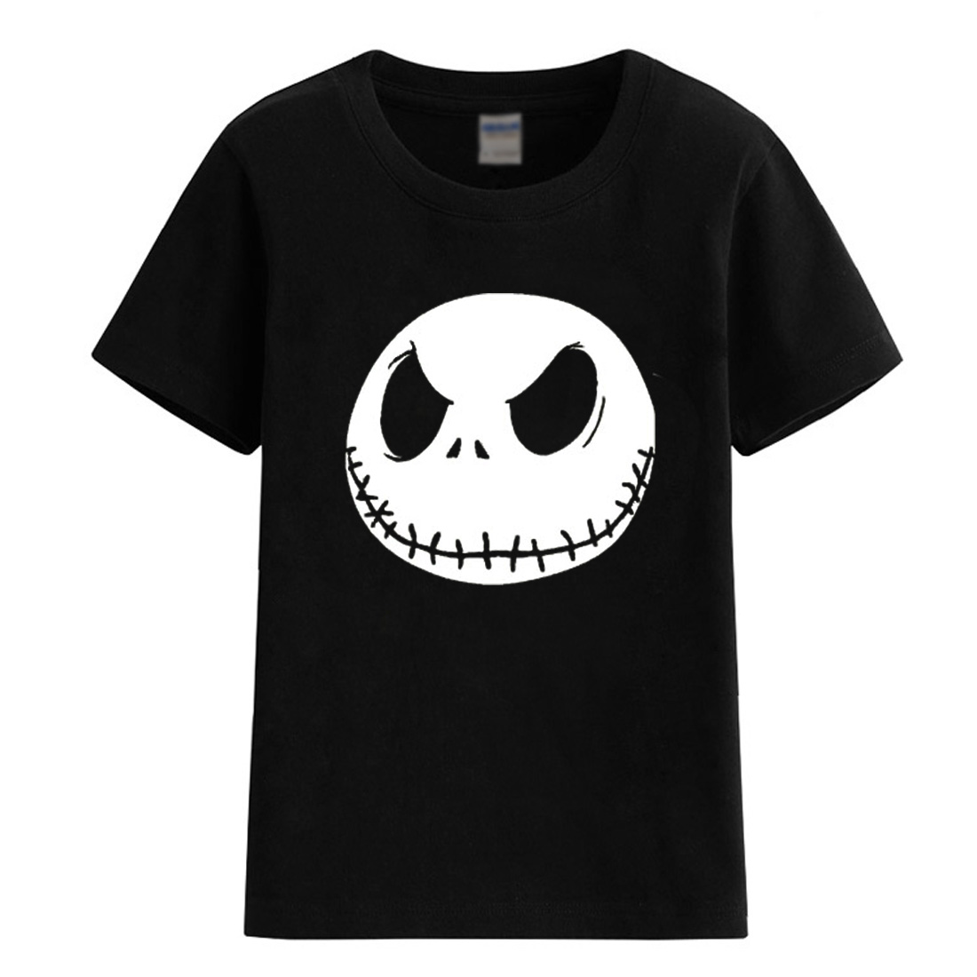 2018 summer T-shirts Jack Skellington Evil Face character pattern T-shirt for girl boy kids clothes fashion cool brand t shirt red stripe pattern off shoulder t shirt with frill details